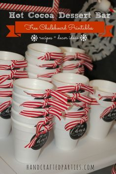 Hot Cocoa Dessert Bar: party decor tutorials + dessert recipes {Handcrafted Parties} some cute ideas and printables Hot Chocolate Party, Cocoa Party, Chocolate Bars, Cool Whip, Funky Junk Interiors, Hot Coco Bar, Polar Express Party, Cookie Exchange Party, Xmas Party