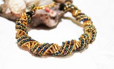 Multicolor russian spiral seed bead bracelet by FusionCraftJewelry