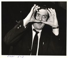 Weegee :: Stanley Kubrick making frame with his hands on the set of his film 'Dr. Strangelove or How I Learned to Stop Worrying and Love the Bomb', 1963
