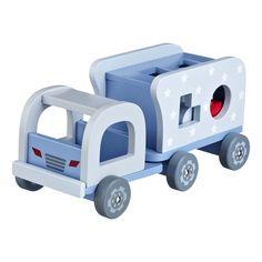 Lastebil med klosser Wooden Truck, Shops, Swedish Brands, Wooden Blocks, Star Designs, Toy Boxes, 4 Kids, Fine Motor Skills, Hand Painted