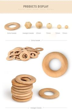 unfinished wooden beads wholesale, Natural unfinished wood teething beads for babies, Round wooden beads, Hexagon wooden beads and Litte Donut wooden beads wholesale. Baby Sewing Projects, Sewing For Kids, Regalo Baby Shower, Teething Beads, Teething Toys, Diy Cadeau, Wooden Teething Ring, Baby Teethers, Wholesale Beads