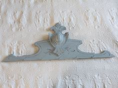 Large Antique French pediment, blue handcarved wooden architectural salvaged hanging canopy or wall rack, fronton for architecture decor French Chic, French Vintage, French Armoire, Blue Home Decor, Wall Racks, French Chateau, Headboards For Beds, Wooden Doors, French Antiques