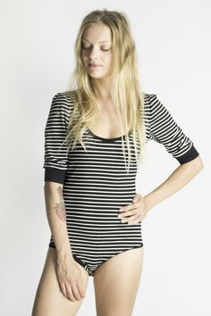 Other – Black and White Striped Bodysuit – a unique product by Kirakalo on…