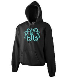Monogrammed (Centered) Adult Hooded SweatShirt Hoodie Sizes S-3XL You Choose Color and Thread Options