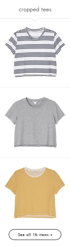 """cropped tees"" by amy-lopezx ❤ liked on Polyvore featuring cropped, tees, tops, t-shirts, shirts, crop tops, new stripes on the block, striped tee, color block shirts and denim shirts"