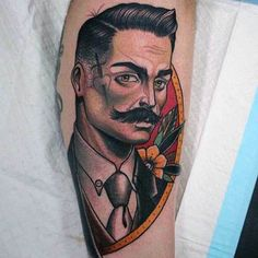 Male Forearms Realistic Man Face Neo Traditional Tattoo