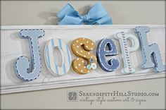 personalized name plaque - custom, made to order wall letter sign, wall letters, heirloom quality children's nursery art and decor by SerendipityHillShop on Etsy https://www.etsy.com/listing/183006530/personalized-name-plaque-custom-made-to