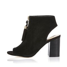 Black suede zip front shoe boots $120.00