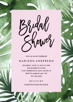 Fashionable Palm Tropical Bridal Shower Invitations from Zazzle                                                                                                                                                                                 More