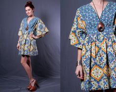 Vintage 60s Blue Floral Checkered Festival by TinyAcornVintage, $68.00