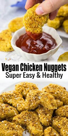 If you're looking for vegan comfort food recipes, these vegan chicken nuggets (aka chickpea nuggets) are perfect for you! They're super easy to make and so much healthier than regular chicken nuggets! Find more vegan recipes at veganheaven.org! #chickennuggets #vegancomfortfood #vegan #Vegan #Vegansnack #veganreceipe