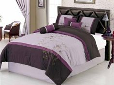 "7 Pcs Embroidery Lavender Flower Bedding Comforter Set Bed In A Bag Queen Purple by Jaba USA. $77.99. 1 Pc Square Cushion. 2 Pcs Standard Pillow Shams (20"" x 26""). 1 Pc Queen Size Comforter (86"" x 86""). 1 Pc Bedskirt (60"" x 80"" + 14"" Drop). 1 Pc Breakfast Pillow, 1 Pc Neckroll. 7 Pcs Luxury Comforter Set. This comforter set will give your room a new look! This is a very attractive comforter set.      Style#: 20564     Condition: Brand New     Size: Queen     Design: Floral     Co..."
