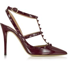 Valentino Rockstud Rubin Leather Slingback Pump (3.530 BRL) ❤ liked on Polyvore featuring shoes, pumps, slingback shoes, pointed toe ankle strap pumps, pointy-toe pumps, leather shoes and pointed toe shoes