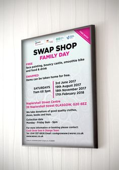 SWAPSHOP – Wall frame display for advertising a public event called Swap Shop Family Day. #poster #banner #boarddisplay #wallframe #Swapshop #FamilyDay