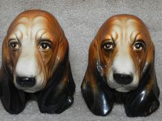 Vintage Ceramic Basset Head Wall Sconces~ up for auction until 8/31/13 ~ 100% of winning bids go to support basset hound rescue BROOD (www.brood-va.org)