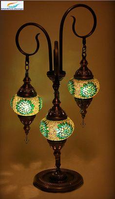 Turkish Handmade Mosaic 3 Globe Spıral Standing by IstanblueDesigns