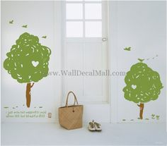 4 Set Birch Tree With Birds Wall Decals
