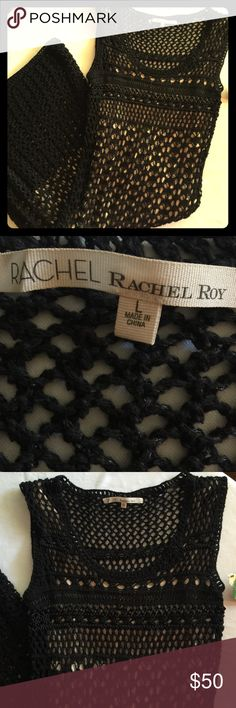 "Rachel Roy Baja Black Crochet Dress Never worn and such a pity.  This dress is hot!  49"" from shoulder to hem.  Nude lining 35"".  Flatters your curves like nobody's business. Rachel Roy Dresses Maxi"