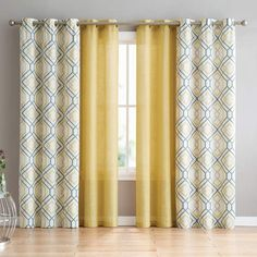 Darby Home Co Minchinhampton 4 Pieces Top Geometric Semi-Sheer Grommet Curtains Curtain Colour: Yellow, Size per Panel: W x L Living Room Decor Curtains, Home Curtains, Grommet Curtains, Window Curtains, Curtain Panels, Geometric Curtains, Colorful Curtains, Bright Curtains, Decorative Curtains