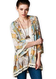 a3a700e1e8f8 Floral   Lace Print Kimono Comfy Dresses
