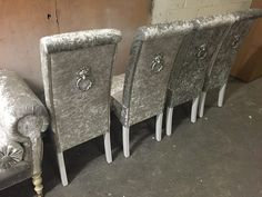 Silver Lion Knocker Dining Chair In Crushed Velvet
