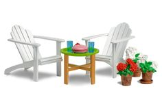 Outdoor Patio and Garden Furniture - 2 classic white Adirondack chairs, a round table with 2 glasses and a princess cake. + 3 potted geraniums (colors vary) Lundby Smaland Dollhouse Accessories