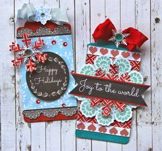 Get scrapbook paper, die cut machines, dies, stickers stamps and more. Christmas Gift Tags, Handmade Christmas, Xmas, Collectible Cards, Joy To The World, Winter Theme, Card Tags, Happy Holidays, Projects To Try