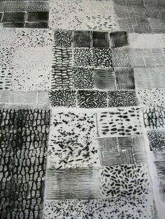 Assorted hand printed samplers using kitchen textures by Julie B Booth
