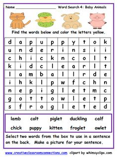 Worksheets Find The Baby Baby Animal Names, Baby Animals, Animal Worksheets, Free Worksheets, Baby Shots, Bookmarking Sites, Bookmark This Page, Math Classroom, Baby Pictures