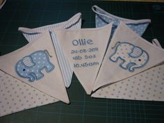 Personalised Bunting with embroidered message by heartfelthings, christening gift