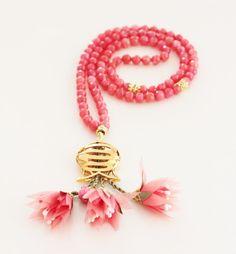 Pastel Red Turkish Islamic 99 Prayer Beads, Tesbih, Tasbih, Misbaha, Worry Beads, Gold Plated Tulip, Fabric Flowers Tassel by Vanilleecom on Etsy