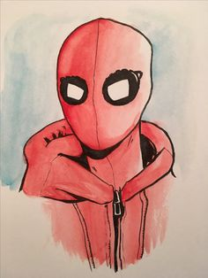 Spider-Man Homecoming water color drawing