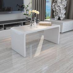 Design Modern High Gloss White Coffee Table Side End Living Room