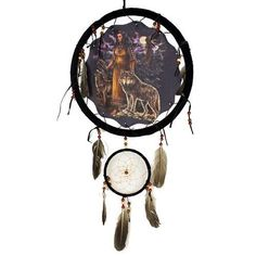 "Dream Catchers - 13"" Dream Catcher with beads/feathers. Second hanging dream catcher measures 5"". Picture in center measures 10"" (Print on one side only). Includes hanging strin"