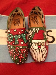 hand painted christmas toms by karen laughlin