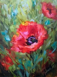 Paper Doll Poppies and Painting on Oil Paper by Nancy Medina, painting by artist Nancy Medina