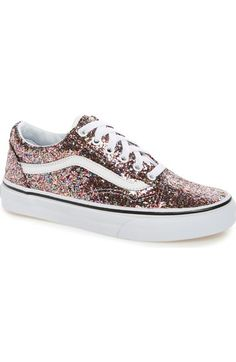 Women's Vans Old Skool Glitter Sneaker High Heel Sneakers, Vans Sneakers, Leather Sneakers, Vans Shoes, Women's Vans, Leather Trainers, Golf Shoes, Cute Shoes, Me Too Shoes