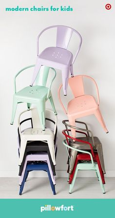 Give a kid's room or playroom a much-needed splash of color with Pillowfort's vibrant activity chairs in a range of colors. They're easily stackable, light enough to move around and the modern design means they'll effortlessly blend into any decor.
