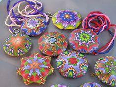 Kaleidoscope polymer clay pendants