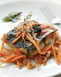 Seafood In this light dish, chef David Swain marinates fish fillets in red wine vinegar and olive oil along Shellfish Recipes, Seafood Recipes, Cooking Recipes, Healthy Recipes, Surimi Recipes, Endive Recipes, Seafood Dishes, Fish And Seafood, Escabeche Recipe