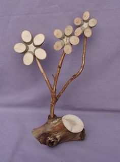 """These """"winter flowers"""" are not only hearty but extremely easy to care for! Each unique piece is crafted from aged and naturally w… Wood Log Crafts, Wood Slice Crafts, Driftwood Crafts, Crafts To Sell, Diy And Crafts, Arts And Crafts, Beach Crafts, Summer Crafts, Tree Branch Crafts"""