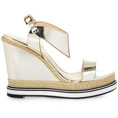 Nicholas Kirkwood Leda leather and espadrille wedge sandals (£260) ❤ liked on Polyvore featuring shoes, sandals, gold, wedges shoes, leather espadrilles, espadrille wedge sandals, braided sandals and wedge espadrilles