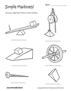 Simple machines for kids. On this page you will find 3 free simple machines worksheets for kids, as well as several simple machine examples. Science Worksheets, Kindergarten Worksheets, Worksheets For Kids, Printable Worksheets, Printables, Probability Worksheets, Stem Projects, Science Projects, Rube Goldberg Projects