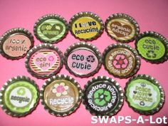 Mini Go Green/Recycle-n-Bottle Caps SWAPS Kit ~