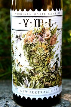 Lisel Ashlock illustrated wine label for VML Gewurtztraminer