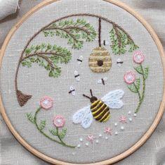 Pretty bee embroidery                                                                                                                                                                                 More