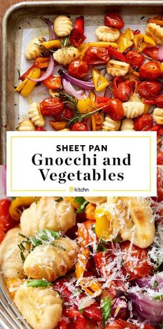This Vegetarian Sheet-Pan Gnocchi Bake is easy, healthy, and delicious! - This Vegetarian Sheet-Pan Gnocchi Bake is easy, healthy, and delicious! Gnocchi gets tossed in a pa - Healthy Dishes, Healthy Dinner Recipes, Healthy Eating, Cooking Recipes, Healthy Gnocchi Recipes, Cooking Pork, Cooking Turkey, Cooking Pasta, Recipes With Gnocchi