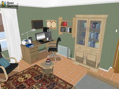 YOUR CHOICE - What would you change about this space to make it your *perfect* home office?  Visualize your home office remodel in 3D for free:  http://planner.roomsketcher.com/?ctxt=rs_com  3D floor plan for home office space with desk, books & bookshelf with sitting area designed in RoomSketcher by mnjavier  #floorplan #homeoffice #remodel