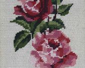 Items similar to Pink roses on ecru background vintage hand stitched needlepoint tapestry on Etsy