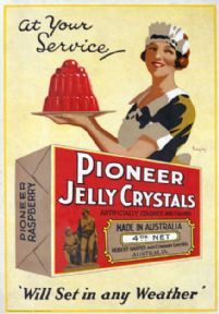 Jelly poster art.  Pioneer Jelly Crystals. Australian Vintage Advertisment poster by James Northfield